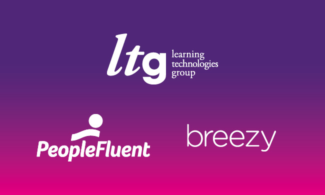 The logos on LTG companies PeopleFluent and Breezy HR